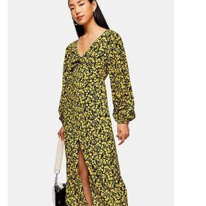 Floral Godet Twist Front Long Sleeve Midi Dress 4
